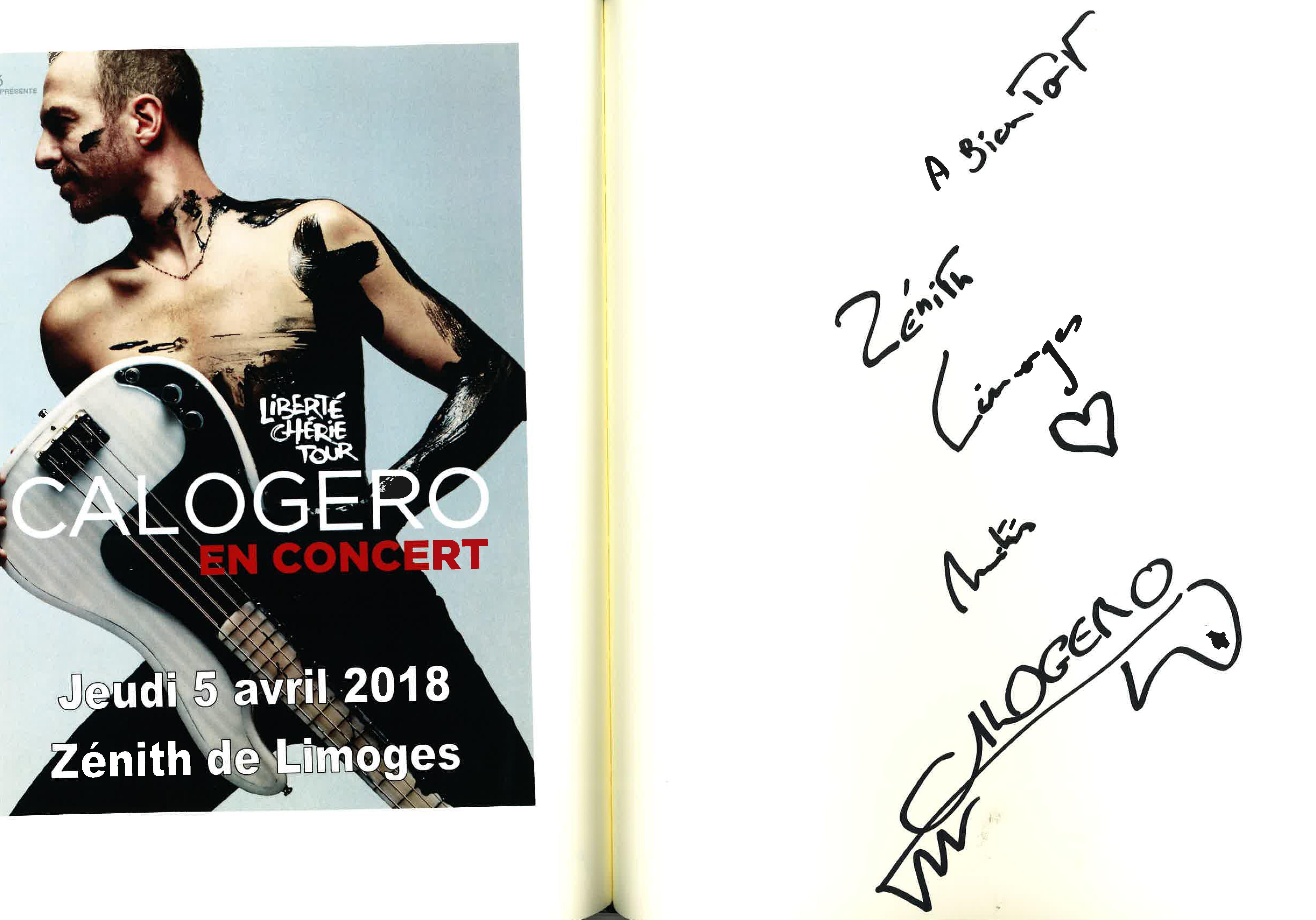 Signature Livre d'or Zénith Limoges 05.04.2018