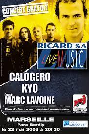 Affiche de la tournée de Calogero Ricard SA Live Tour 2003