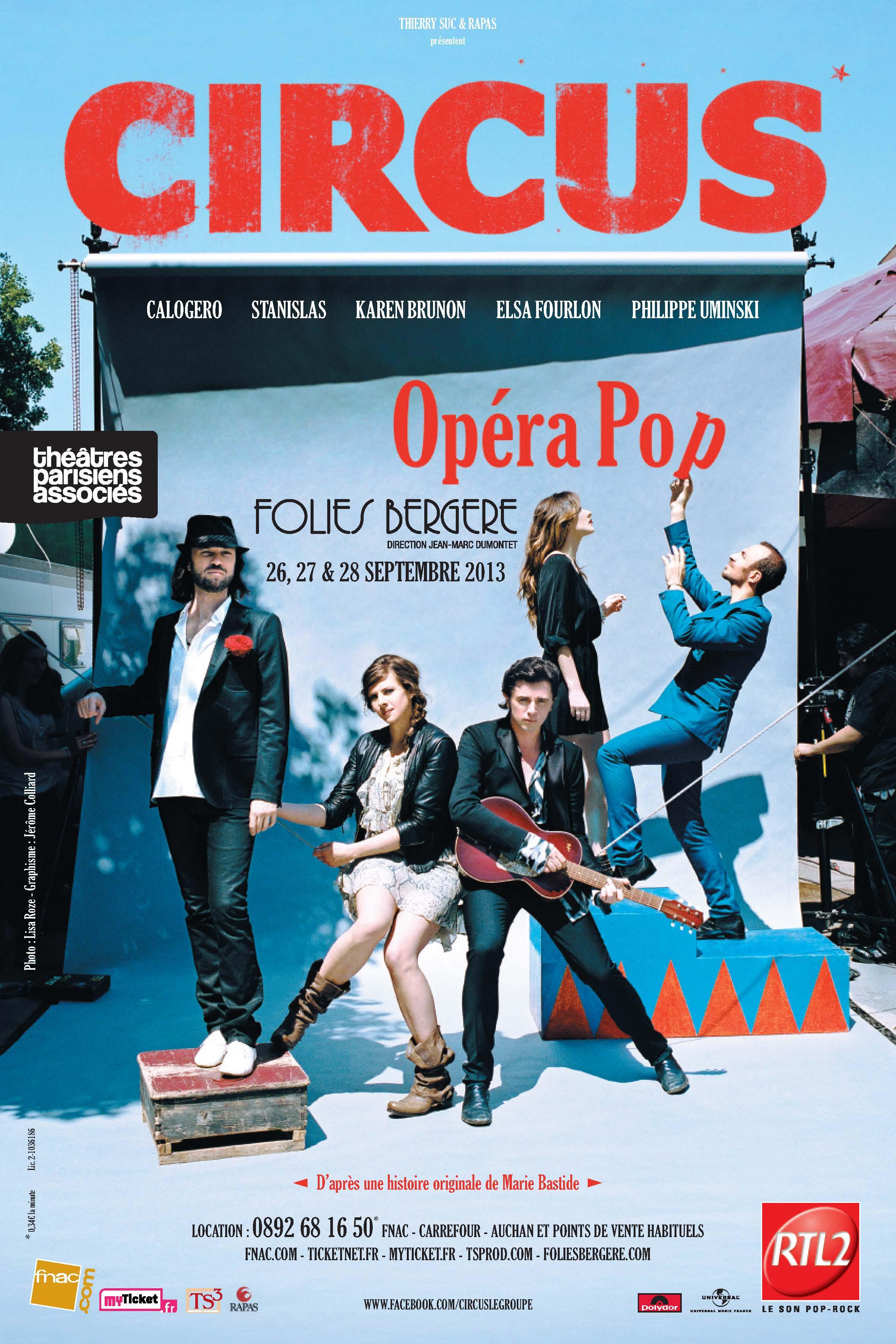 Affiche de la tournée de Calogero Circus Tour 2013